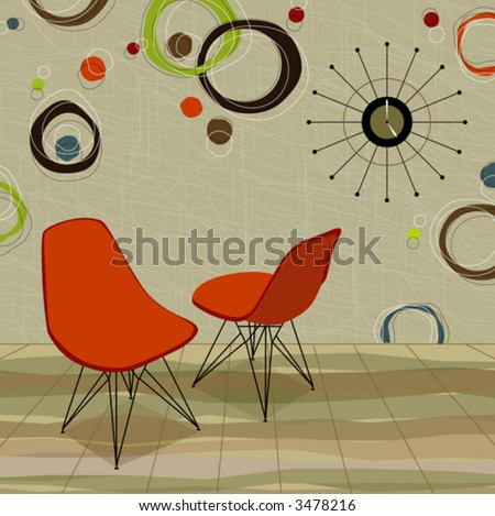 Stylin' retro home with orange chairs and a cool retro clock. Easy-edit layered vector file - stock vector