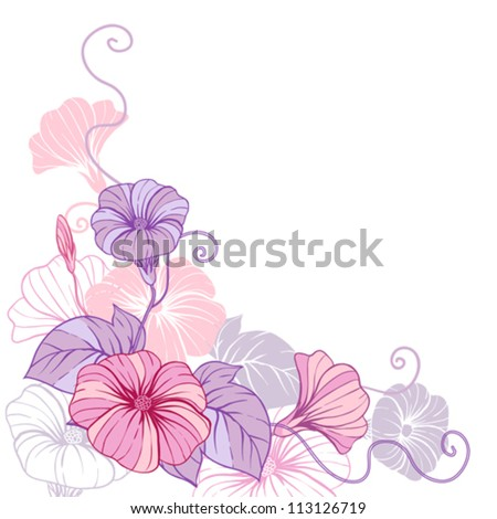 Stylish abstract floral background. Design of vector flowers. - stock vector