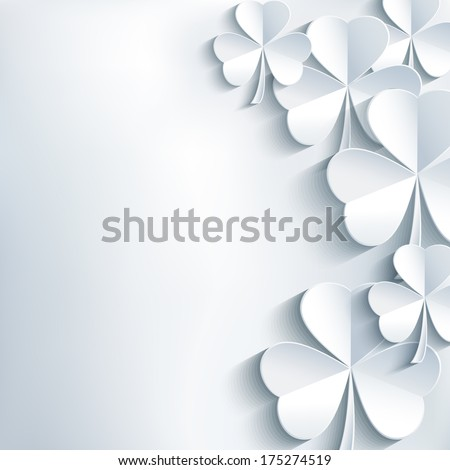 Stylish abstract St. Patrick's day background with cut paper 3d leaf clover. Trendy modern white - gray background. St. Patrick day card. Vector illustration  - stock vector