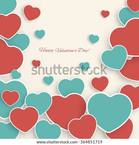 Stylish  abstract Valentine's day background with  paper hearts. - stock vector