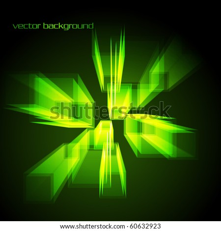 Stylish abstract vector design in green glowing color - stock vector