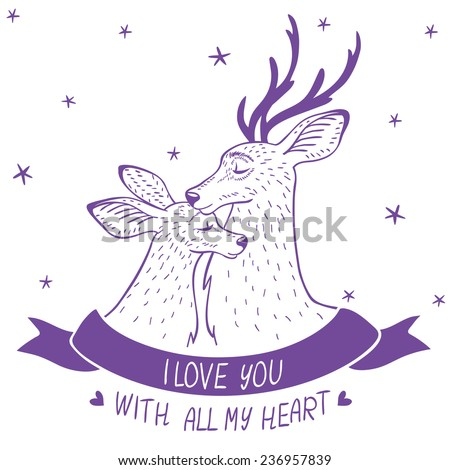 Stylish and beautiful doodle silhouette two amazing cartoon deers. Vector illustration - stock vector