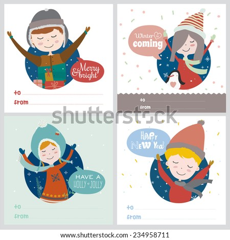 Stylish and bright Merry Christmas and New Year card in vector. Funny and smiling boys and girls congratulates and waving their hands. Winter holiday background. Let's joy Christmas. - stock vector