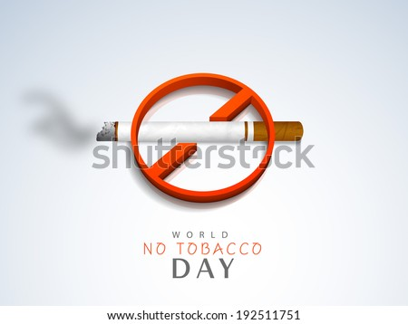 Stylish Anti Smoking sticker, tag or label design with cigarette on grey background for World No Smoking Day. - stock vector