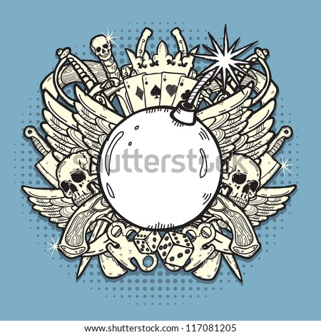 Stylish background, made of mixed graphic elements on theme of gambling, weapons, and crime. - stock vector