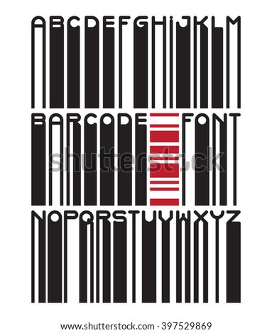 Stylish barcode typeface font. Stripped letters of barcode scanning. Custom barcode font. Barcode letters set. Vector barcode illustration - stock vector
