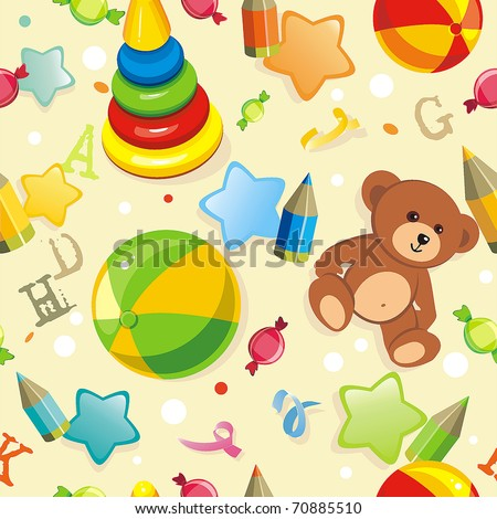 Stylish beautiful baby seamless pattern with toys, vector elegance background. Children's decoration texture. - stock vector