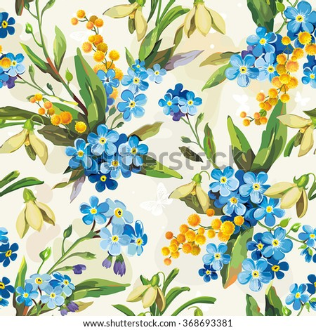 Stylish beautiful bright floral seamless pattern. Abstract Elegance vector illustration texture with forget-me-not - stock vector
