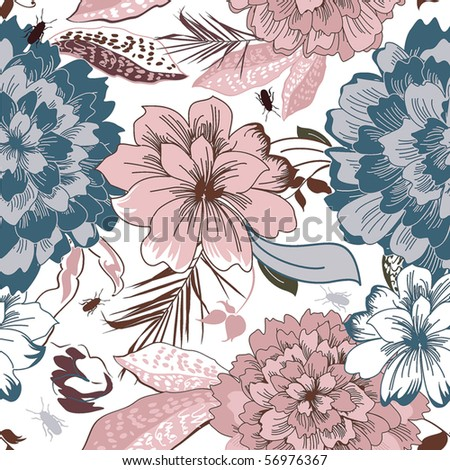 Stylish beautiful bright floral seamless pattern. Abstract Elegance vector illustration texture - stock vector