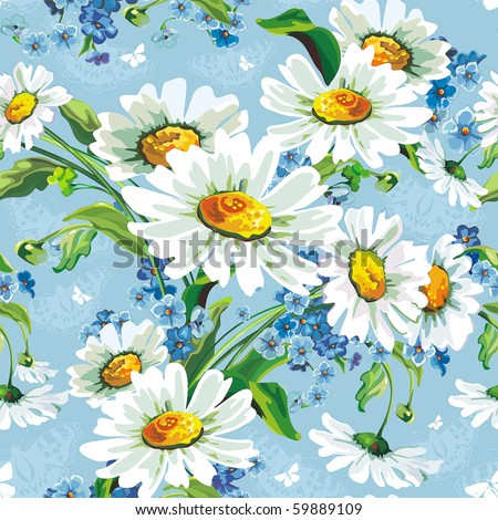 Stylish beautiful bright floral seamless pattern. Abstract Elegance vector illustration texture with daisywheels. - stock vector