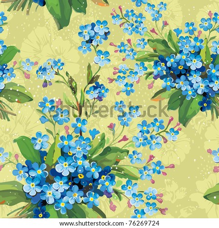 Stylish beautiful bright floral seamless pattern. Abstract Elegance vector illustration texture with forget-me-not. - stock vector