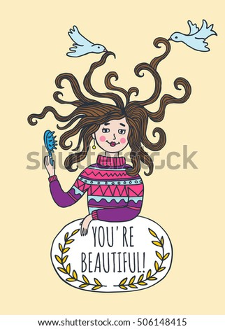 Stylish beautiful card with illustrated girl. Vector illustrated girl with comb.