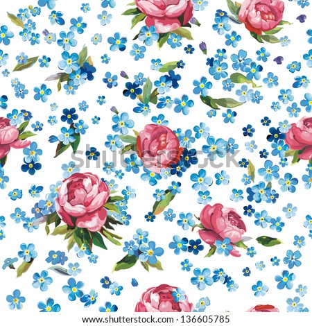 Stylish beautiful ornamental vector illustration texture with forget-me-not - stock vector