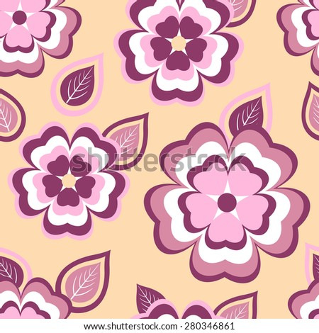Stylish beautiful seamless pattern with stylized pink and red sakura blossom - japanese cherry tree and leaf. Nature background with spring flowers. Floral modern trendy wallpaper. Vector illustration - stock vector