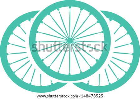 Stylish bicycle and silhouette - stock vector