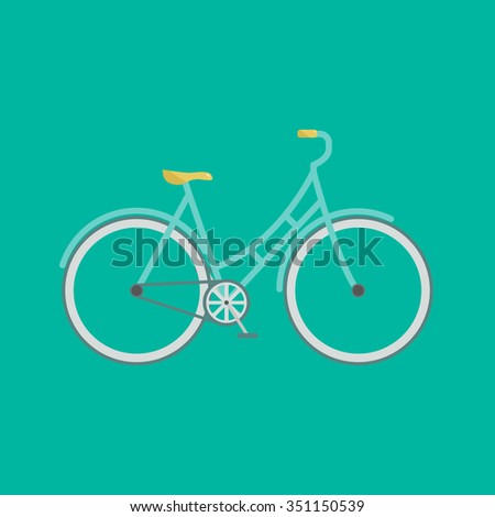 Stylish bicycle. Minimalistic flat bicycle illustration. Retro Illustration Bicycle. Vector modern flat illustration of stylish bicycle on green background isolated.