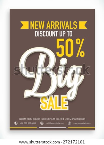 Stylish Big Sale poster, banner or flyer design with fantastic discount offer on new arrivals. - stock vector