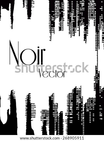 Stylish black and white background with random ink elements resembling night lights. Perfect for banners, booklets and web project. Nightlife noir imagery. - stock vector
