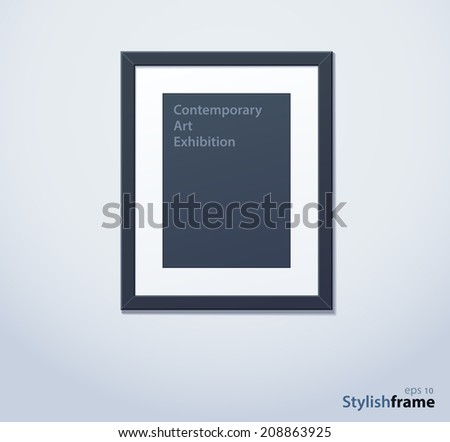 Stylish black photoframe with mount. Vector illustration - stock vector
