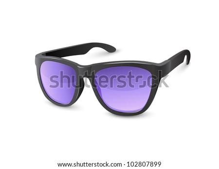 Stylish Black Sun Glasses With Violet Lenses - stock vector