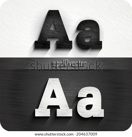"""stylish black, white  squared shabby alphabet letters. Uppercase letter """"A"""" and Lowercase  letter """"a"""". eps10. The rest of letters, symbols and numbers of the alphabet in my portfolio. - stock vector"""