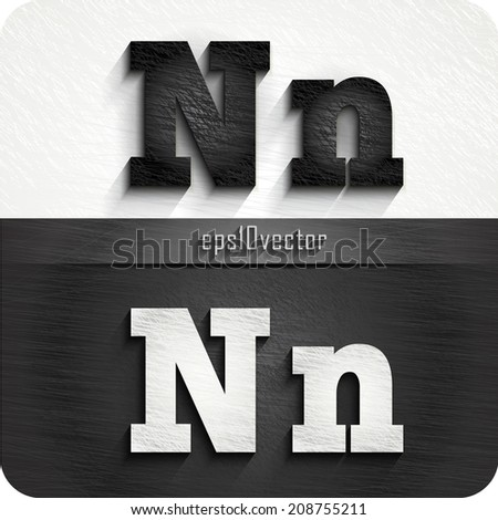 """stylish black, white squared shabby alphabet letters. Uppercase letter """"N"""" and Lowercase letter """"n"""". eps10. The rest of uppercase and lowercase letters, and symbols of the alphabet in my portfolio. - stock vector"""