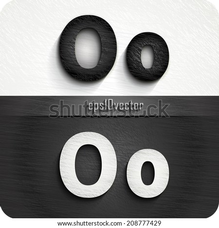 """stylish black, white squared shabby alphabet letters. Uppercase letter """"O"""" and Lowercase letter """"o"""". eps10. The rest of uppercase and lowercase letters, and symbols of the alphabet in my portfolio. - stock vector"""