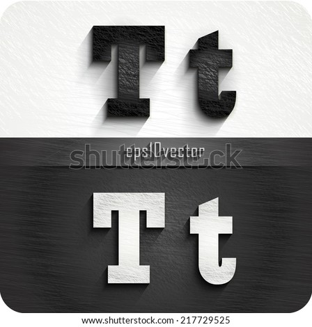 """stylish black, white squared shabby alphabet letters. Uppercase letter """"T"""" and Lowercase letter """"t"""". eps10. The rest of uppercase and lowercase letters and numbers of the alphabet in my portfolio. - stock vector"""