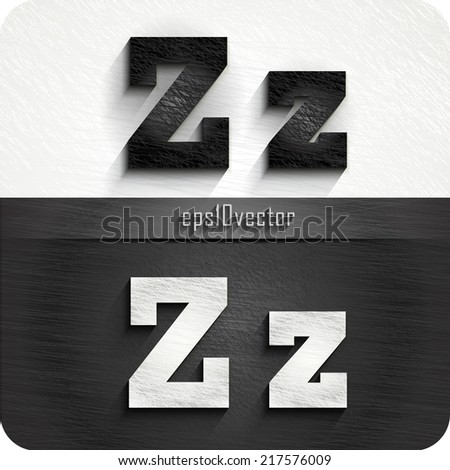 """stylish black, white squared shabby alphabet letters. Uppercase letter """"Z"""" and Lowercase letter """"z"""". eps10. The rest of uppercase and lowercase letters and numbers of the alphabet in my portfolio. - stock vector"""