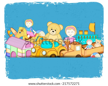 Stylish blue grungy poster, banner or flyer with colorful toys.  - stock vector