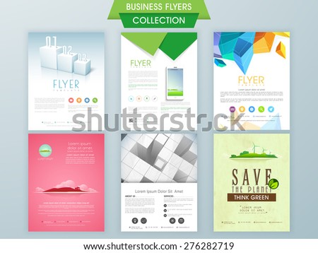 Stylish business and ecological flyer collections, can be used as professional presentation and reports.  - stock vector