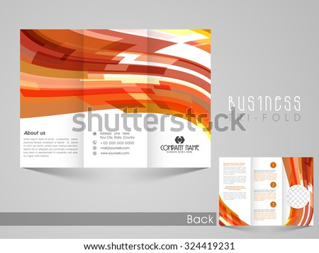 Stylish Business Trifold Flyer, Banner, Template or Catalog with creative colorful abstract design.