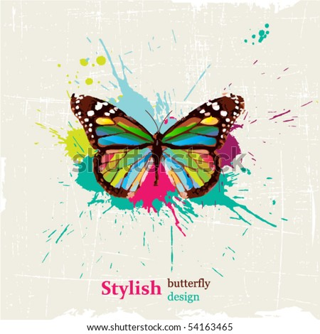 Stylish butterfly design - stock vector