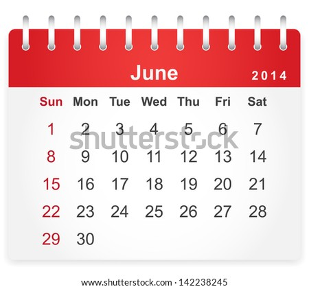 Stylish calendar page for June 2014 (week starts from Sunday) - stock vector