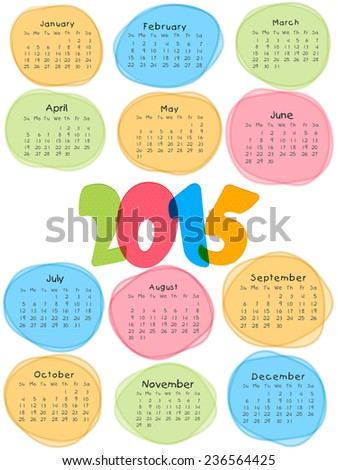 Stylish calendar with colorful text 2015 on white background for Happy New Year celebrations.