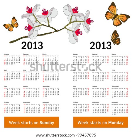 Stylish calendar with flowers and butterflies for 2013. Week starts on Monday. - stock vector