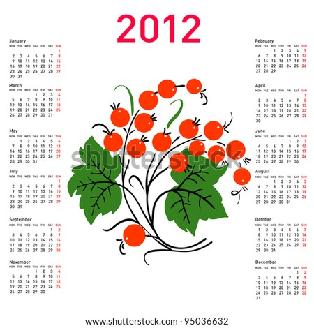 Stylish calendar with flowers for 2012. Week starts on Monday. Rasterized version also available in portfolio.