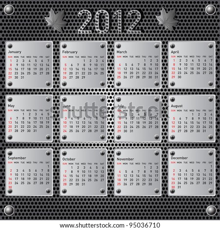 Stylish calendar with metallic  effect for 2012. Sundays first. Rasterized version also available in portfolio. - stock vector