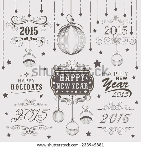 Stylish calligraphic or typographic collection for Happy holidays and Happy New Year 2015 celebrations. - stock vector