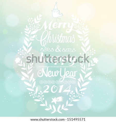 Stylish Christmas and New Year background in vector. Bright holiday invitation card on bokeh wallpaper. 2014 concept wallpaper with text in vintage vignette - stock vector