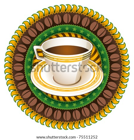 Stylish coffee label with vintage decoration. Vector illustration. - stock vector