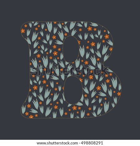 Stylish color letter B with tender decorative flowers
