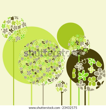 Stylish colored floral design in vector