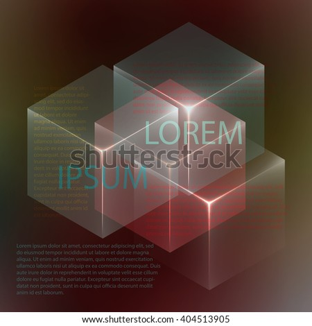 Stylish colorful background with 3d glowing cubes. Abstract background texture with blurred shapes and space for text or caption. Abstract background for apps, presentations or corporate use. - stock vector