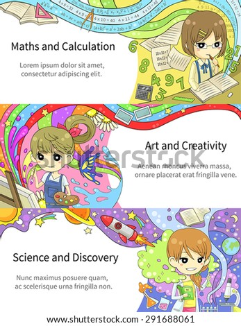 Stylish colorful infographic cartoon girl children studying maths and calculation, art creativity, science and discovery, in artistic fantasy banner background template layout design, create by vector - stock vector