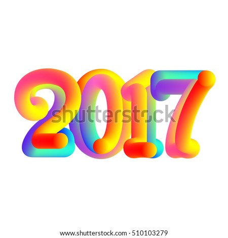 Stylish colorful text 2017. 2017 happy new year card. typographic vector illustration.