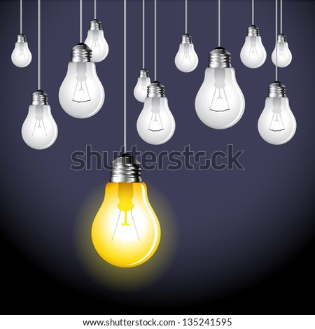 Stylish conceptual digital light bulb idea design - vector - stock vector