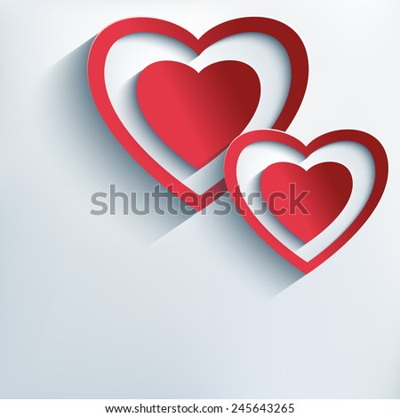 Stylish creative background with two red - grey cut paper 3d hearts. Trendy Valentines Day background with stylized hearts. Beautiful love card for Valentine's day. Vector illustration.