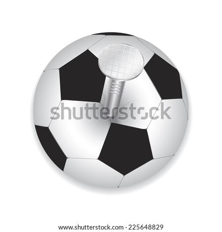 Stylish creative conceptual football vector design. Nail driven into the ball - stock vector