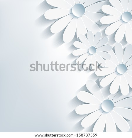 Stylish creative modern abstract background, 3d cut paper flower chamomile. Floral gray background. Vector illustration. Vector background - stock vector